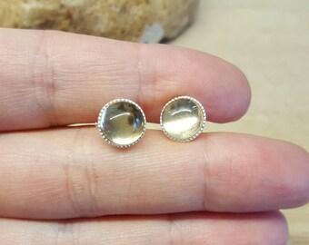Sterling silver Citrine Stud earrings. Crystal Reiki jewelry uk. November birthstone. 8mm Post earrings. Yellow gemstone earrings