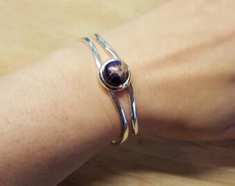 Purple sea sediment jasper cuff bracelet. Crystal Reiki  jewelry uk. Silver plated Adjustable bracelet