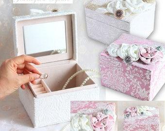 Beautiful Jewelry Box Square Big Rose,Bow,lace,Princess style,pink,white,Accessory box,Accessory case