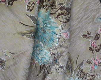 Mid Century  Barkcloth  Centerpiece Floral with  gold background print highlights in 2 lengths of  1 yard home decorating