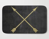Gold Arrows Bath Mat, Black Bath Mat, Arrow Bath Rug, Rustic Bathroom Decor, Shower Mat, Bath Mat Set, Bath Decor, Black and Gold