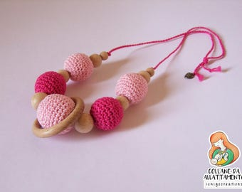 Cotton nursing necklace pink and Fuchsia