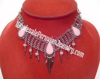 3 Pink Rose Quartz Teardrop Stones, Alpaca Silver Filagree Necklace - Handmade Peruvian Jewelry