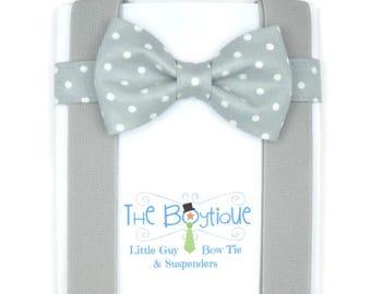 Grey Bow Tie for Babies, Polka Dots, Light Grey Bow Tie, Grey Suspenders