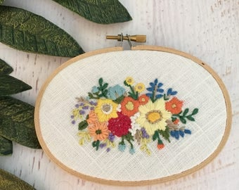 Floral Bouquet Embroidery Hoop Art - Bright Rainbow Flowers Floral on White Linen - Oval Hoop