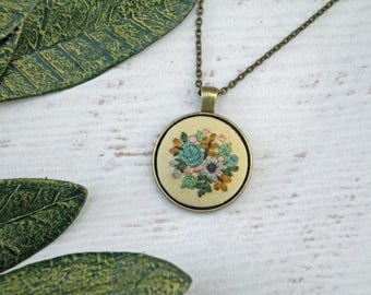 Light Gold Yellow Floral Mini Embroidery Necklace - Detailed Embroidered Jewelry - Teal Blue Flowers - Bouquet - Bronze Pendant