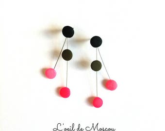 colorful polymer clay drops earrings