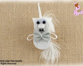 Lil' Poppet™ Orion Silvermist, White Unicorn, Ribbon Sculpture Hair Clip or Brooch Pin
