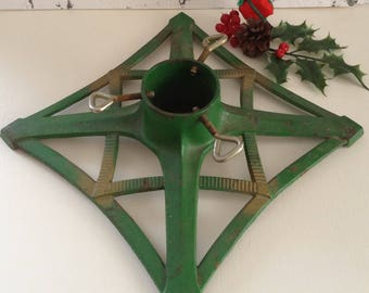 vintage christmas tree stand cast iron german 1960s green and gold - Christmas Tree Holder