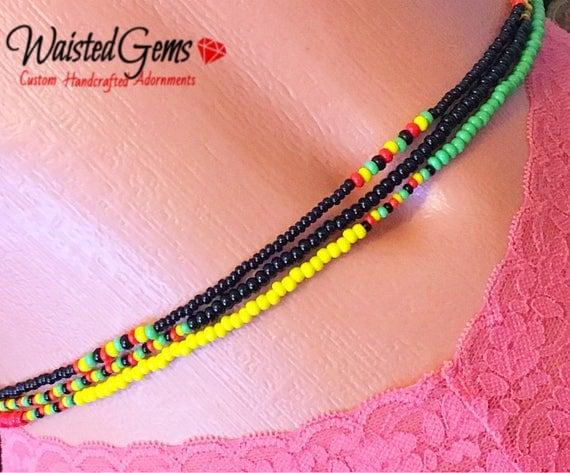 Rasta Triple Strand Waist Beads, Waistbeads, belly chains, Body Jewelry, Red Yellow and Green, belly beads, swim wear, Boho Jewelry zmw55642