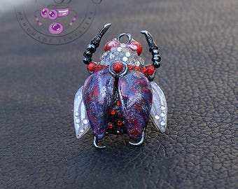 Beetle ring / Bug ring / Insect ring / Steampunk beetle ring / Statement ring / Adjustable ring / Art ring / Big ring /Polymer clay ring