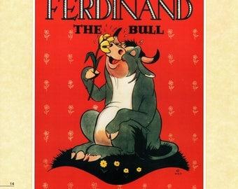 "Vintage Disney Poster Print, 1938, Ferdinand the Bull, Item 105 Standard Size 11"" x 14""  PMD, Wall Art"