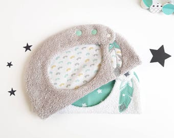 Lot bavoirs bébé en éponge,bavoirs bébé réglables, bavoir garçon, bavoir fille, cadeau bébé, cadeau naissance, bavoir original plume