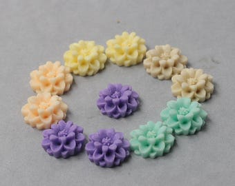 19mm Resin Flower Cabochons / Mixed Lot Resin Flowers Supplies Wholesale SZ-005-p1236158