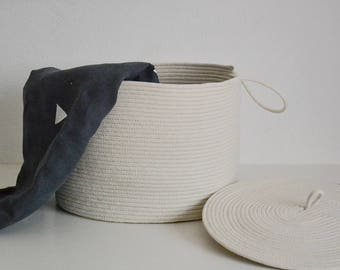 Oval rope basket, Storage basket, Oval basket, Lidded basket, Basket with lid, Laundry basket, Nurcery basket
