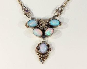 Collier opale doré argent antique