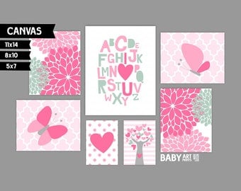 Girl Nursery canvas art prints, Alphabet, Tree, Butterfly, Tree, Set of 7 ( MS10147 )