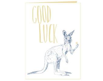 Good luck card - Kangaroo holding lucky clover - Big step - New job - New adventure -  eco friendly