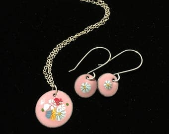 necklace and earring set, handmade by quail run jewelry, pink w/blue flower glass wafers melted on, sterling silver chain & earrings wires