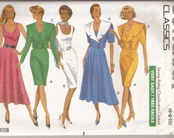 Butterick 4086 Misses Dress and Jacket , Size 6-8-10, Vintage 1989