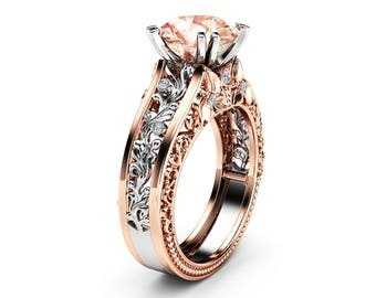 Natural Morganite Engagement Ring 14K White and Rose Gold Engagement Ring  2 Carat Morganite Vintage Ring