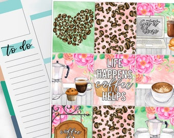 Coffee Life Weekly Planner Kit for No-White Space and White Space Planners  - WK13