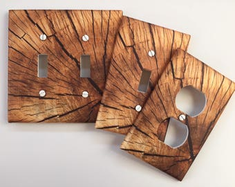 Rustic Wood Light Switch Plate Cover // Brown log slice image 59 // SAME DAY SHIPPING**