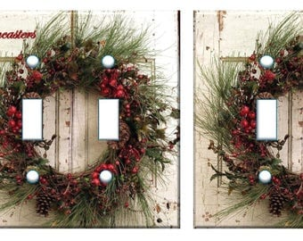 Christmas wreath Light switch cover // Personalized With or Without // nostalgic door // SAME DAY SHIPPING**