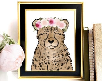 Cheetah Art Print, Safari Animal Art, Cheetah Print, Cheetah Wall Art, Nursery Wall Art, Floral Decor, Nursery Art Print, Cheetah Painting