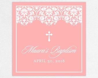Baptism Favor Tag, Baptism Favor Label, Christening Favor Tag, Christening Favor Label, Printed, Floral, Damask, Lace, Girl, Pink, Maura