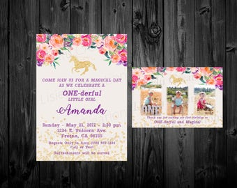 Unicorn 1st Birthday Invitation, Floral 1st Birthday Invitation, Magical 1st Birthday, Unicorn Birthday Party, Sparkle 1st Birthday