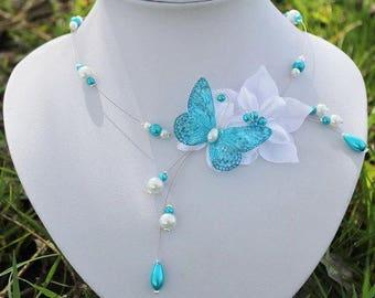 Butterfly necklace bride turquoise white wedding evening Lysandra Collier mariée fleur de satin Papillon turquoise blanc soirée mariage