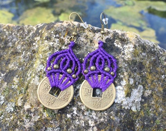 Macrame earrings (purple) with brass asian style coins