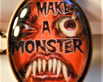 Goth 1958 Movie How to Make a Monster Movie Poster Necklace