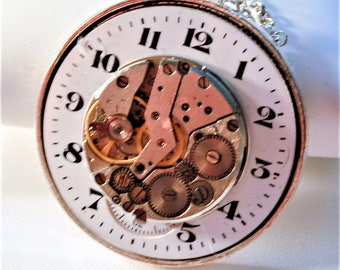 Steampunk Art Deco Watch Dial & Vintage Watch Movement. Pendant with Chain OOAK