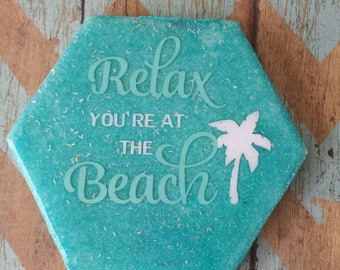Relax your at the beach tile beverage coaster