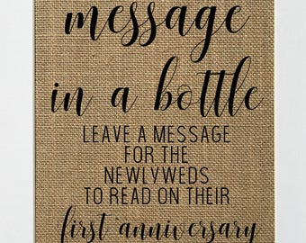 UNFRAMED Message In A Bottle / Burlap Print Sign 5x7 8x10 / Rustic Vintage Wedding Decor Love House Sign Wedding Decor Sign