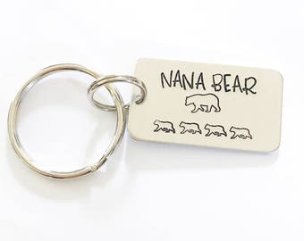 Nana bear - Gift for grandmother - Gift from grandchildren - Hand stamped keychain - Custom gift - Custom keychain - Baby bears keychain