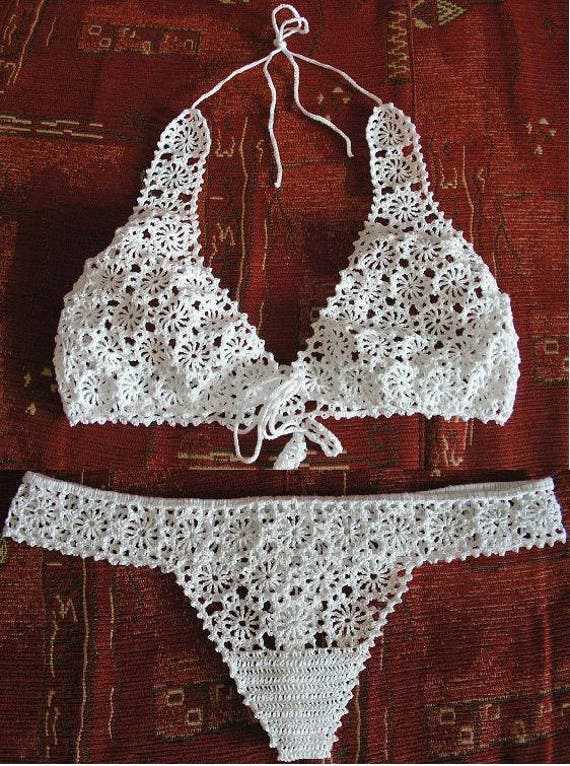 Sexy thong bra set low rise see through cotton lace hand made soft cups erotic hot lingerie crochet bikini