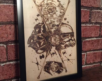 Star Wars pyrography art work storm trooper darth vader wood burning