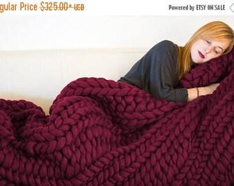 "ON SALE Ruby Super Chunky Knit Merino Blanket, 40"" x 58"", Chunky Wool Blanket, Giant Knitting, Giant Super Bulky Knit Blanket, Extreme Knitt"