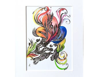 A5 print, watercolour flames, watercolour and ink illustration.