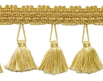 2.5 Inch Tassel Fringe Trim, Style# Etf Color Light Gold - B7,  Sold By The Yard