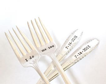 Ready to Ship wedding forks, Custom wedding date cake fork set, Add a date engagement gift, Vintage silver plate grille forks, Hand stamped