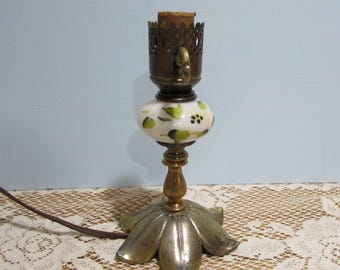 Milk Glass Brass Lamp with Brass Leaf Base ~ Electric Hurricane Lamp ~ Cottage Chic  ~ Brass Lamp ~ Hand Painted Milk Glass ~Turn Key Switch