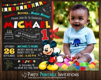 Mickey Mouse Invitation, Mickey Mouse Birthday Invitation, Mickey Mouse Invitation with photo, Mickey Mouse Invitation with Picture
