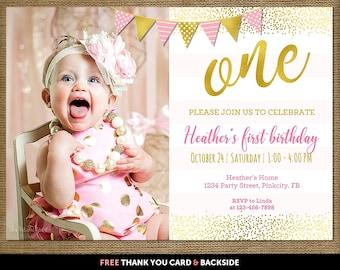 First birthday invitation girl, First birthday invitation girl pink and gold,  Pink and gold first birthday invitation, Pink gold invitation