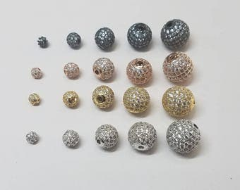 1 Piece - Round Micro CZ Pave Beads, 4mm, 6mm, 8mm, 10mm, 12mm, Gunmetal, Silver, Gold, Rose Gold