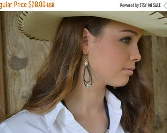 Clearance Sale Leather and Tibetan Silver Earrings in Natural Blue Leather