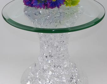 Hstudio Shlomi Haziza Roxie Acrylic End Table Night Stand Pedestal Glass Top Mid Century Modern Cubist Lexan Lucite Signed Interior Design